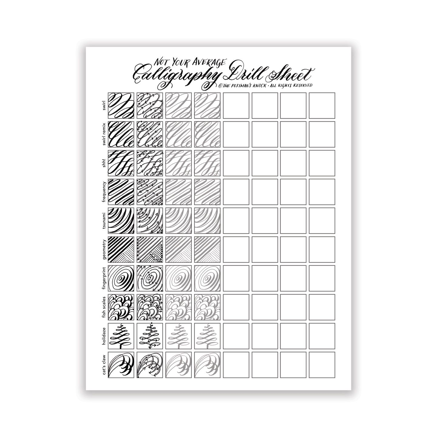 Printable Not Your Average Calligraphy Drill Sheet Dip