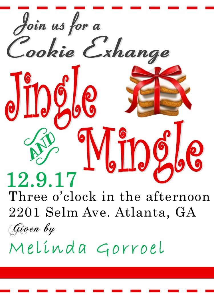 Jingle and Mingle Christmas Cookie Exchange invitations on stripes ...