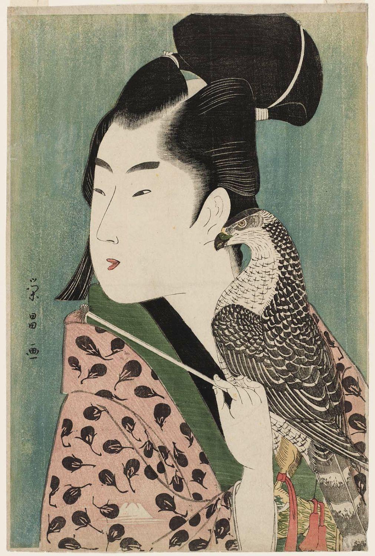 Young Man with Falcon by Chokosai Eisho