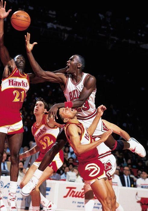 1cc644764a8 Michael Jordan Lay Up Chicago Bulls Atlanta Hawks Dominique Wilkins Doc  Rivers