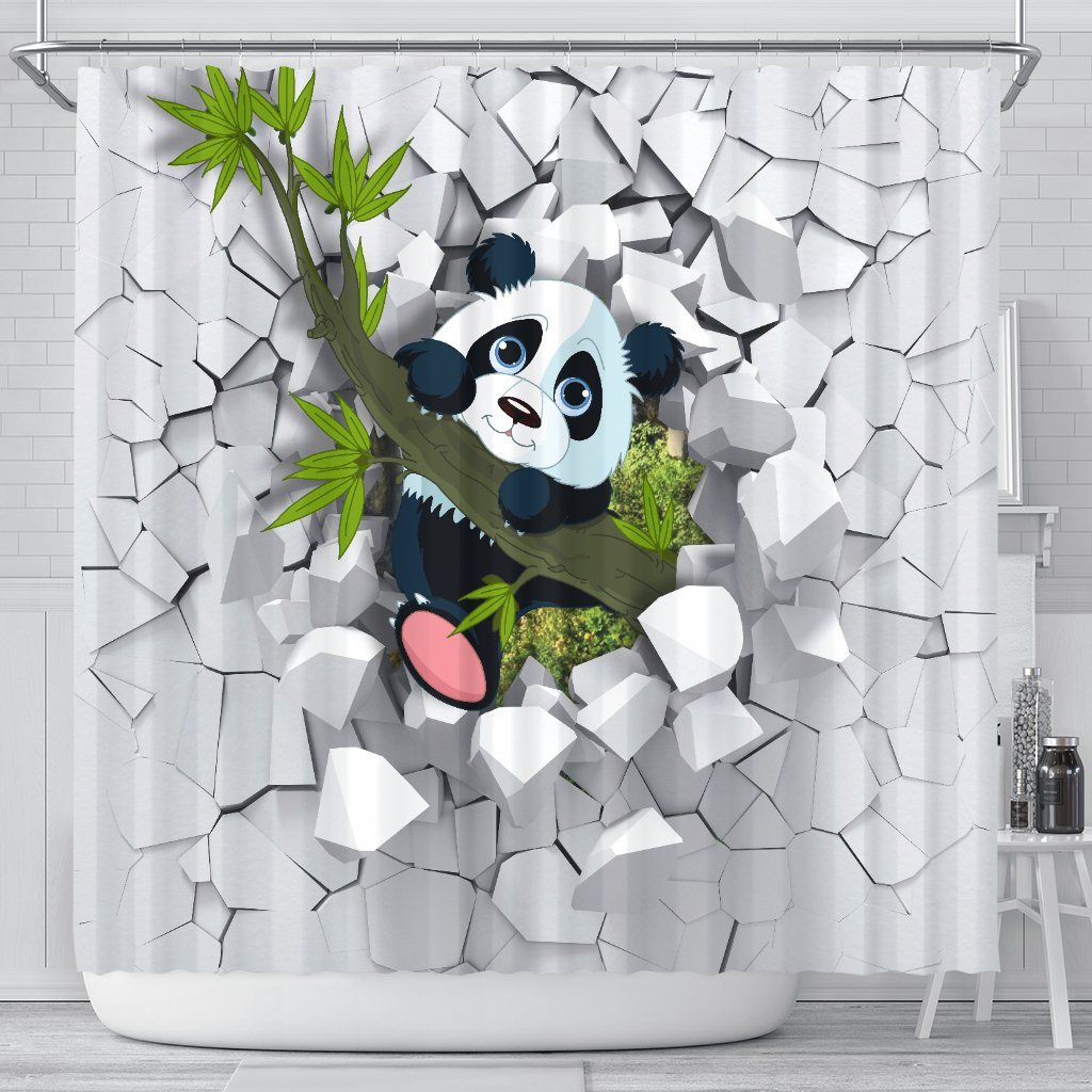 3d Panda Shower Curtains With Images Handcraft Panda 3d Panda