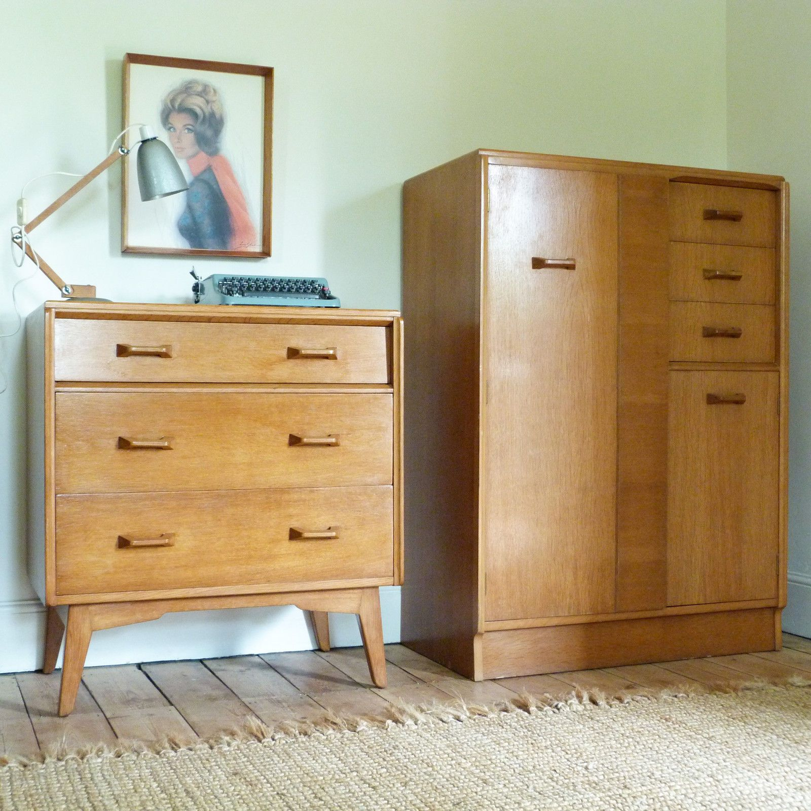 Vintage Mid Century 1950s G Plan Brandon Light Oak Tallboy