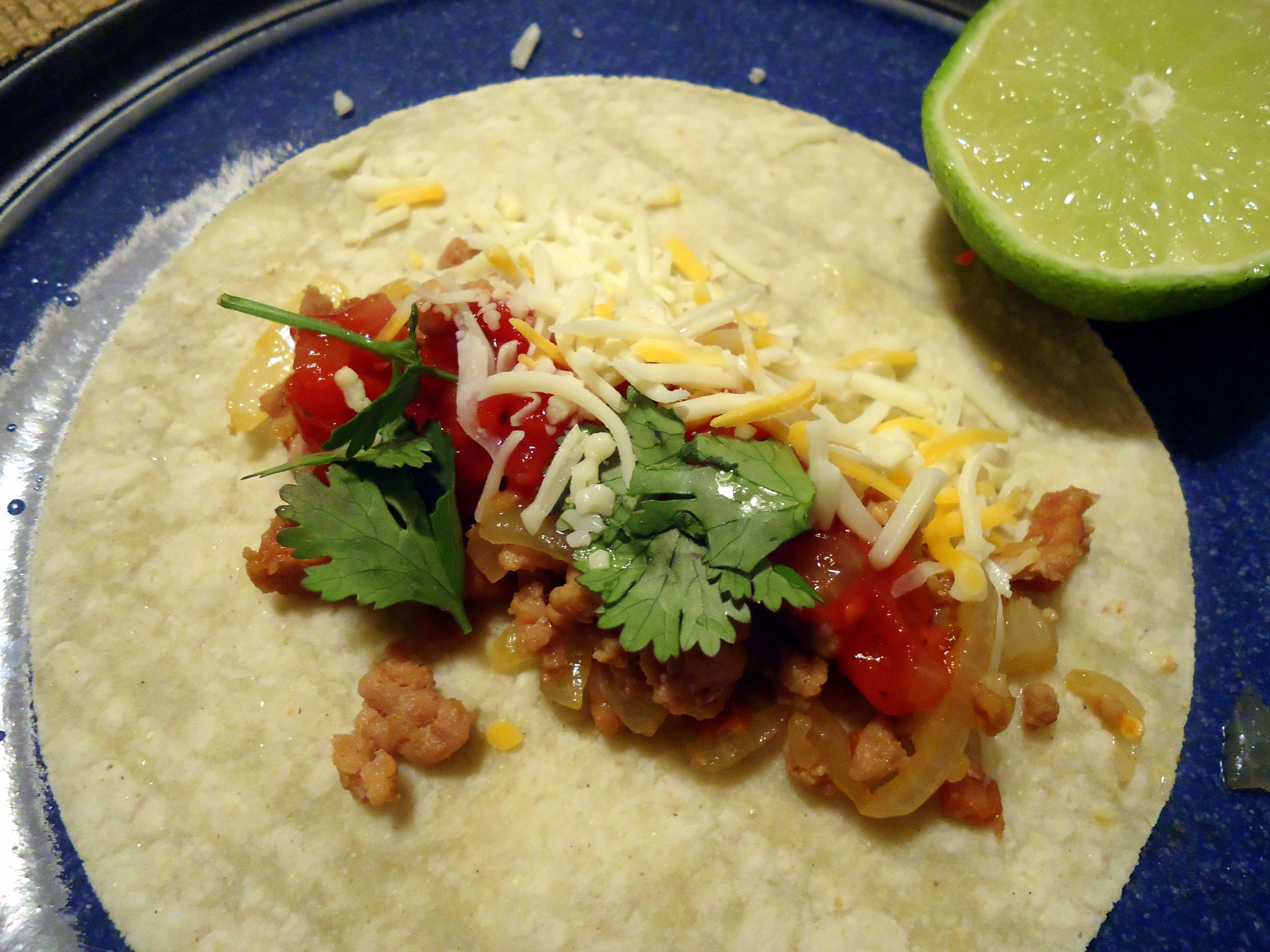 Turkey-Chorizo tacos.  Mmmm.