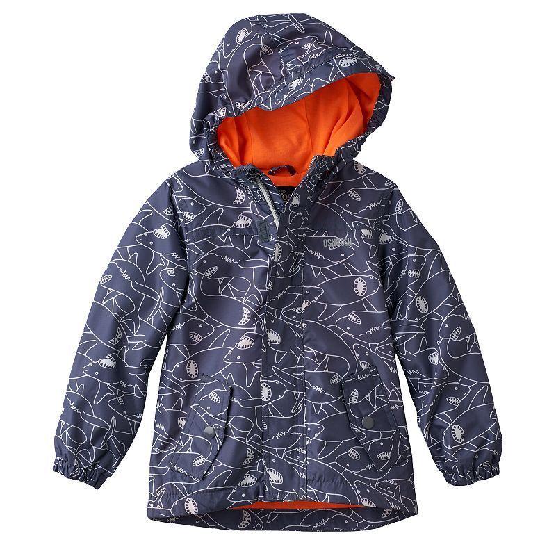 Toddler Boy OshKosh B'gosh® Shark Pattern Lightweight Rain Jacket, Size: 3T, Grey