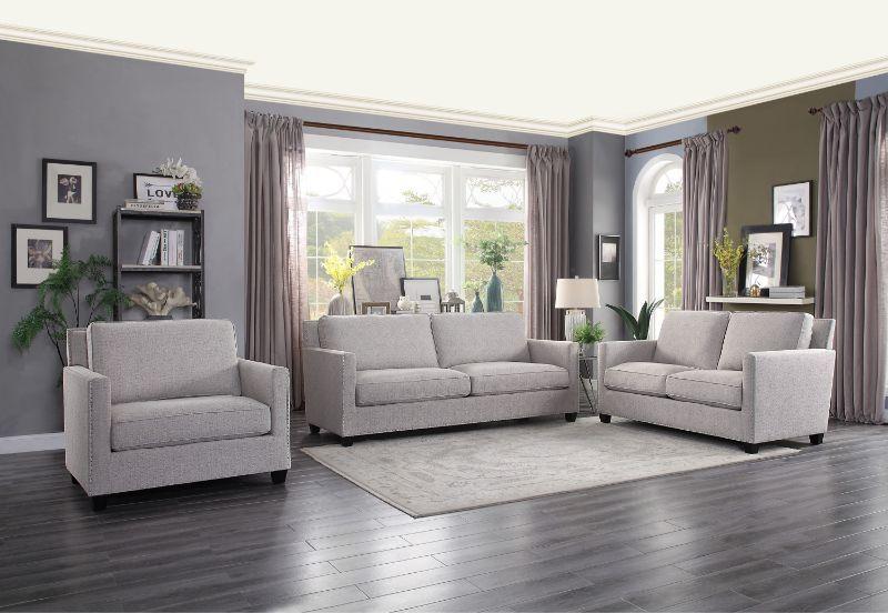 He 9846 Sl 2 Pc Pickerington Light Gray Fabric Sofa And Love Seat Set Living Room Decor Gray Living Room Grey Sofa