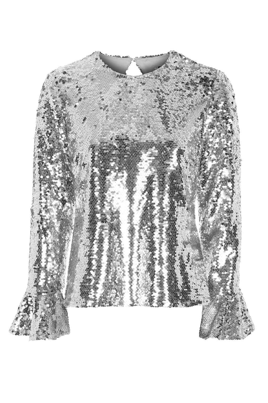 23b7f7913c Flared Sequin Sleeve Top Topshop Tops, Silver Sequin, Sequin Top,  Embellished Top,