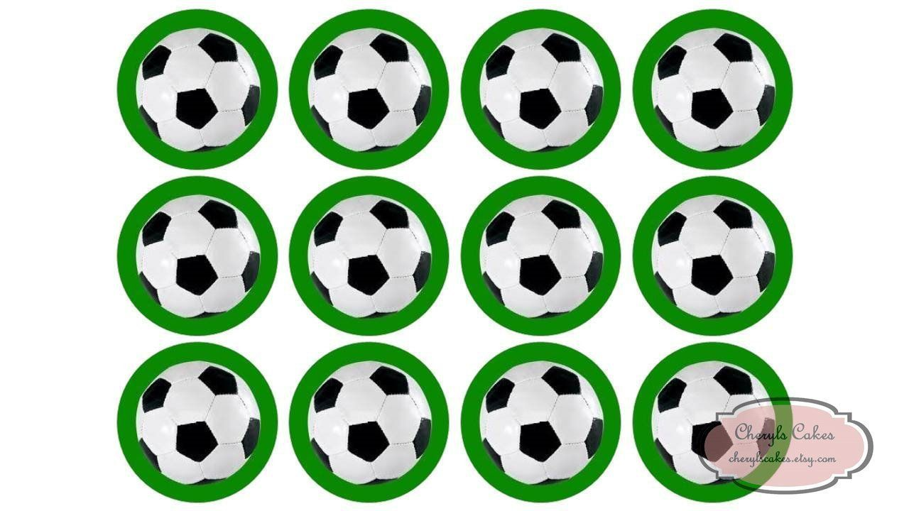 15 Football Soccer Cupcake Toppers Edible Etsy Soccer Cupcakes Edible Icing Sheets Edible Ink