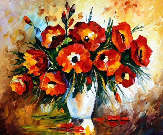OIL ON CANVAS PAINTING DIRECTLY FROM FAMOUS ARTIST LEONID AFREMOV  Title: Red Flowers Size: 36 x 30 inches (90 cm x 75 cm) Condition: Excellent Brand new Gallery Estimated Value: $ 3,500 Type: Original Recreation Oil Painting on Canvas by Palette Knife  This is a recreation of a piece which was already sold.  Its not an identical copy, its a recreation of an old subject. This recreation will have texture unique just to this painting, a fingerprint that can never be repeated. My recreation…
