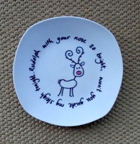 Teller beschriften - Weihnachten, auch als Karte oder Geschenk #sharpieplates