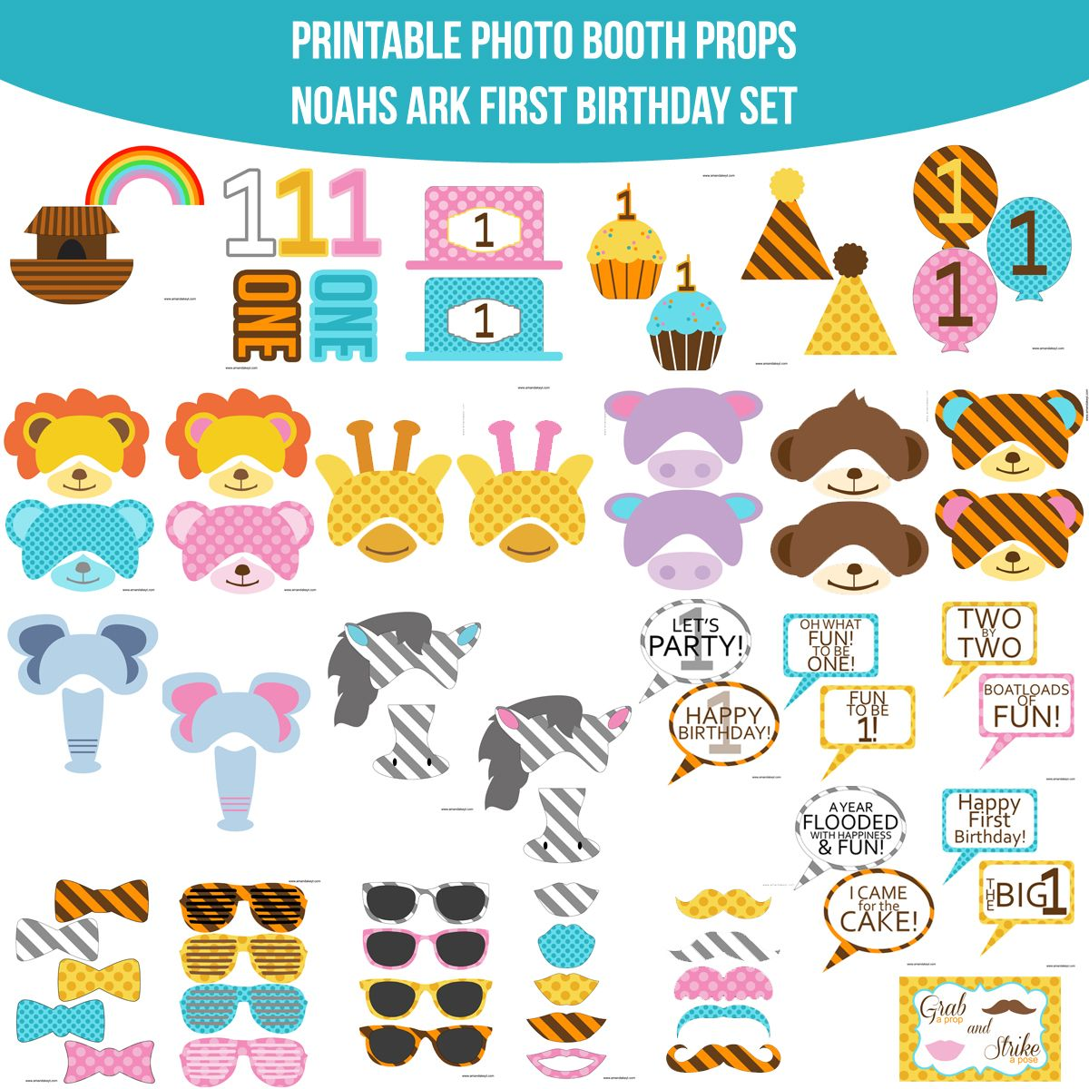 Instant Download Noahs Ark First Birthday Printable Photo