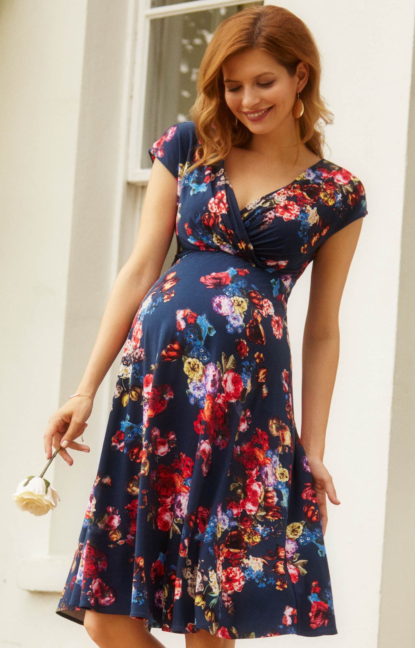 alessandra maternity dress short midnight garden