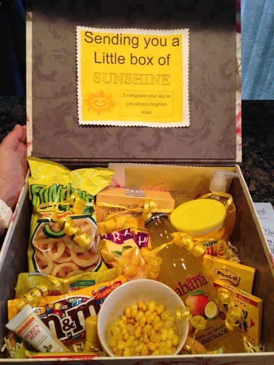 Box Of Sunshine Gift Box Ideas Sunshine Gift Yellow Gifts Yellow Gifts Basket