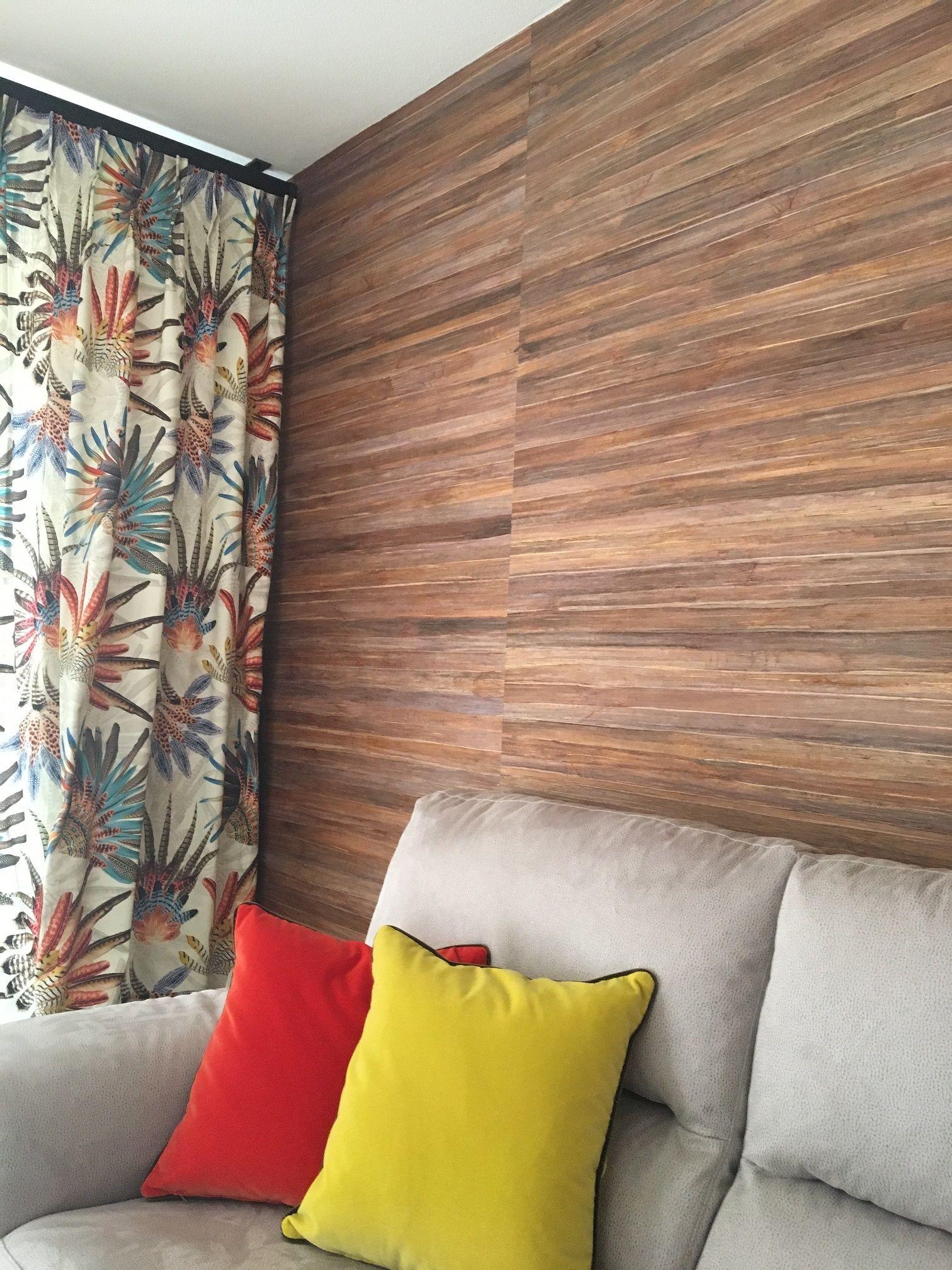 Pose revêtement mural Elitis et rideaux en tissu Casamance avec ...