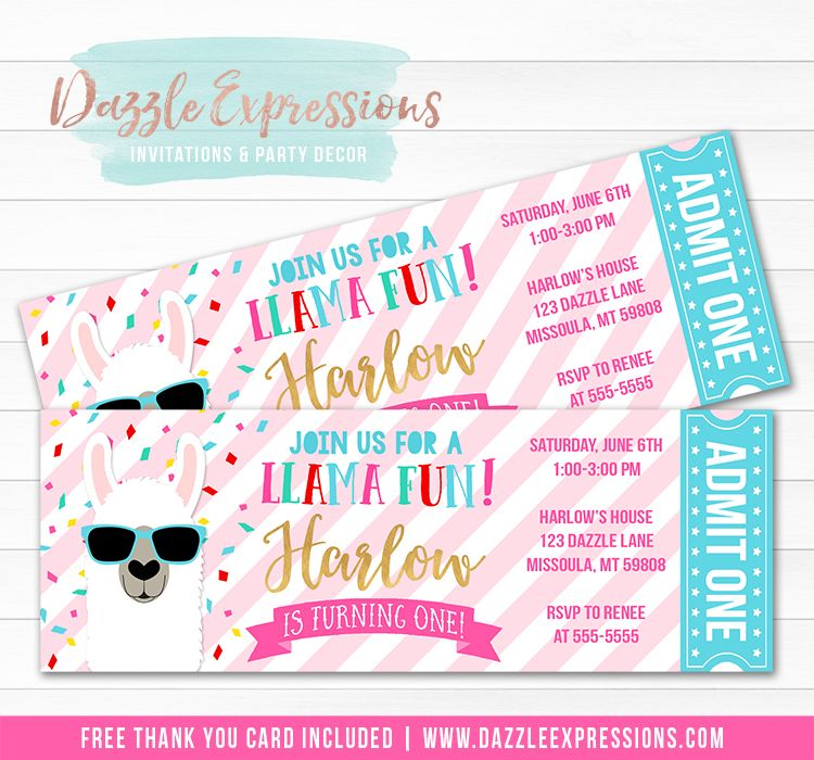 Printable Llama Ticket Birthday Invitation Llama With Sunglasses