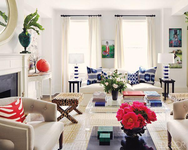Claiborne Swanson Frank living room leopard x bench red zebra blue ikat pillows LeopardsElle DecorLiving