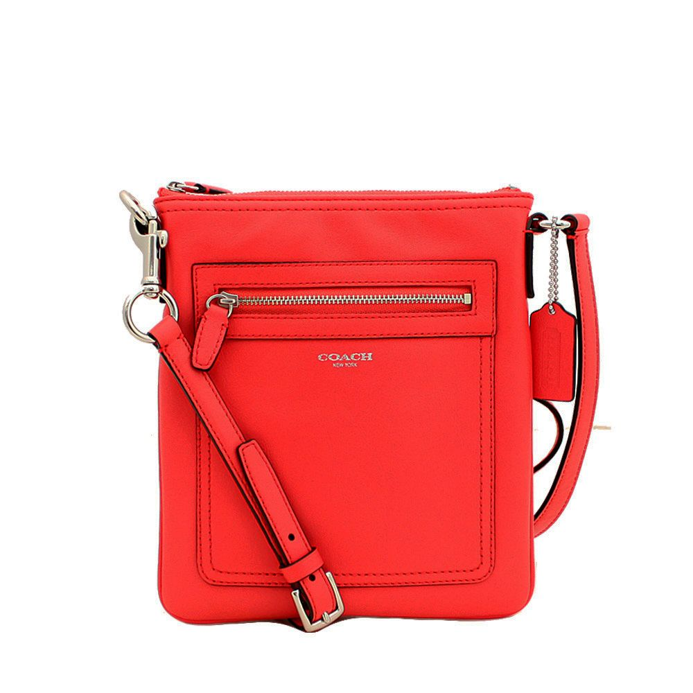 0d97534936 Coach Legacy Leather Swingpack Crossbody Bag- Bright Coral