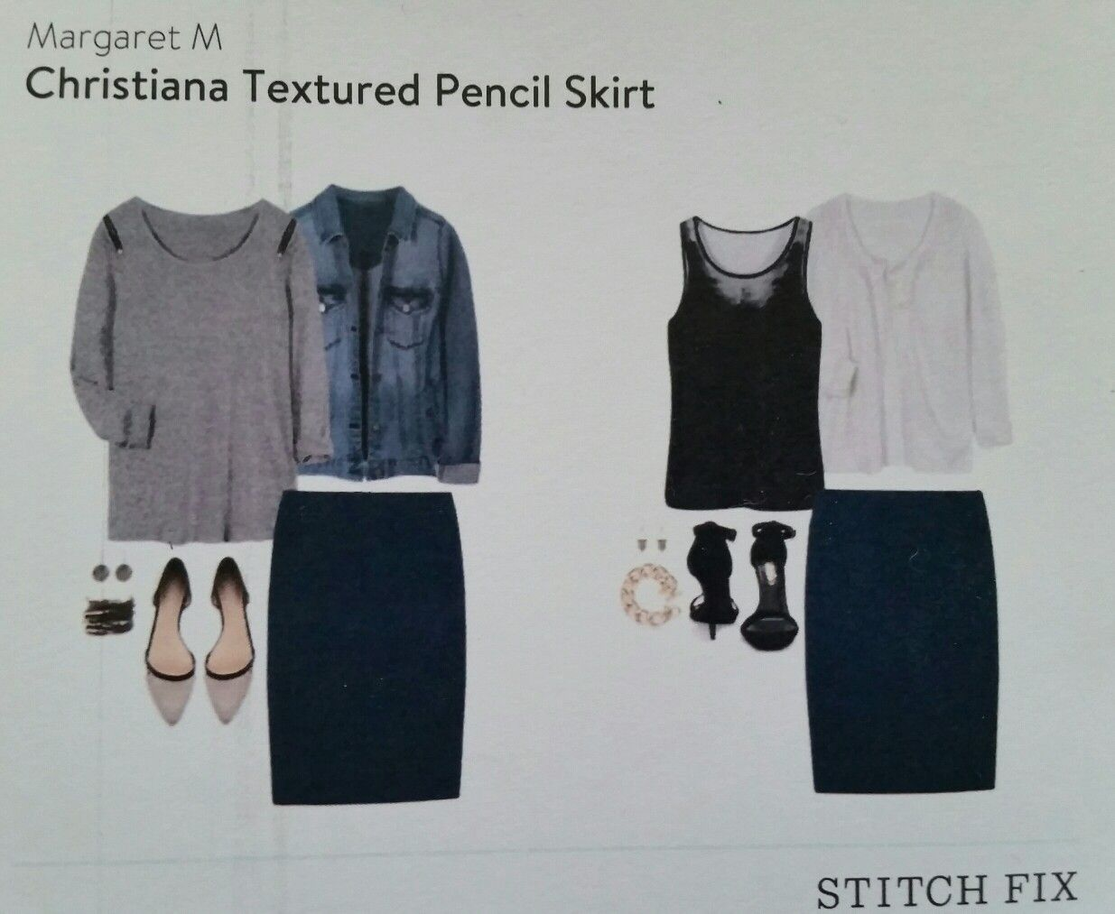 7231d88411 My 1st Stitch Fix Style Card, Margaret M Christiana Textured Pencil Skirt  Size 10p