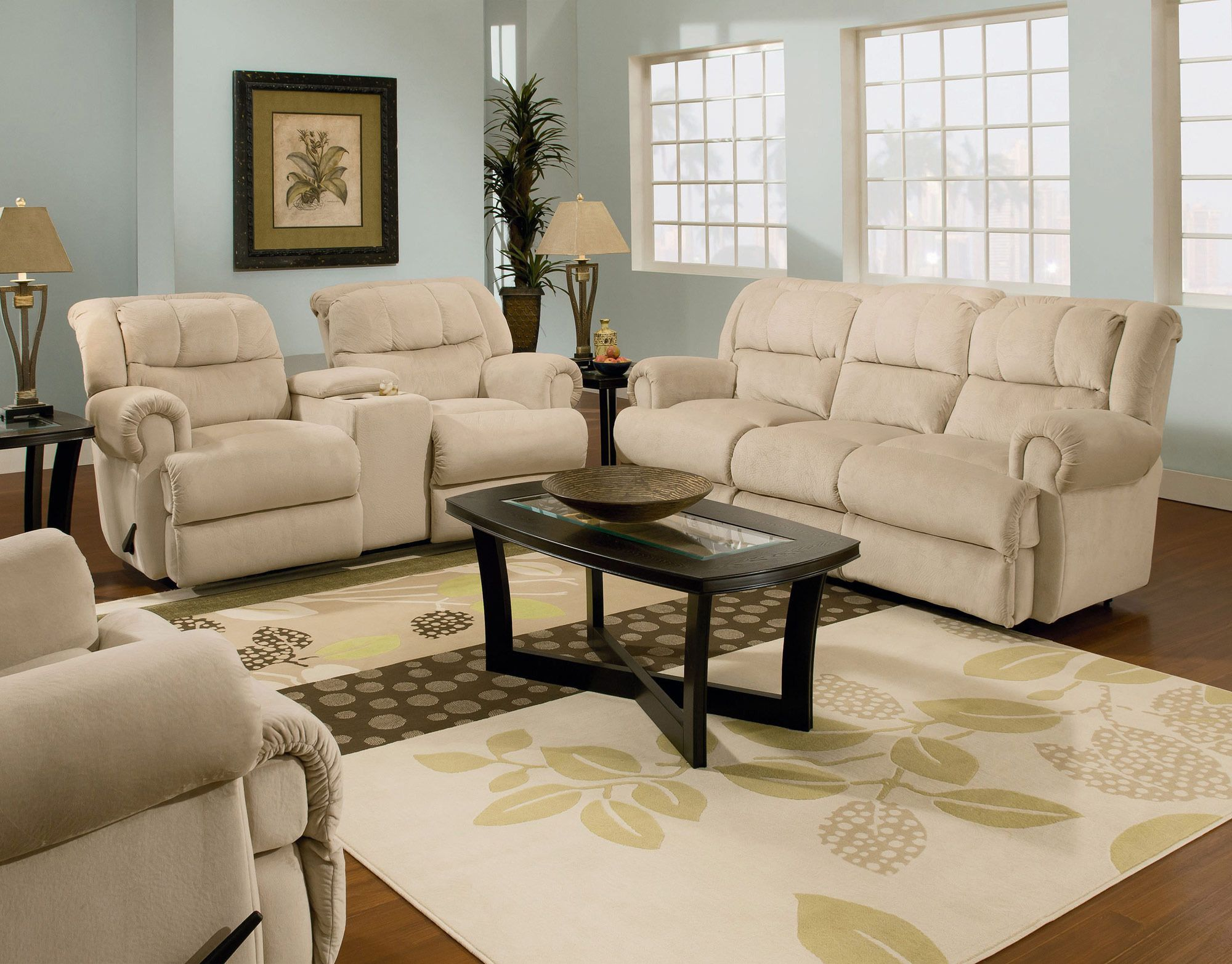 Double Reclining Sofa With Fold Down Table Cloth Tray Recliner Sofas For