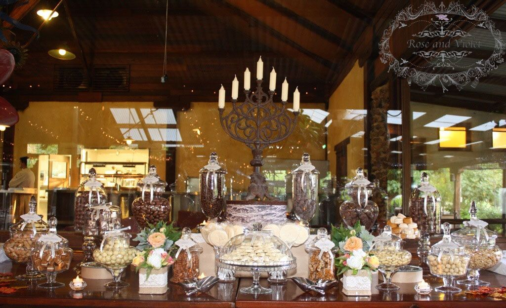 Ivory And Brown Rustic Theme Candy Buffet By Rose And