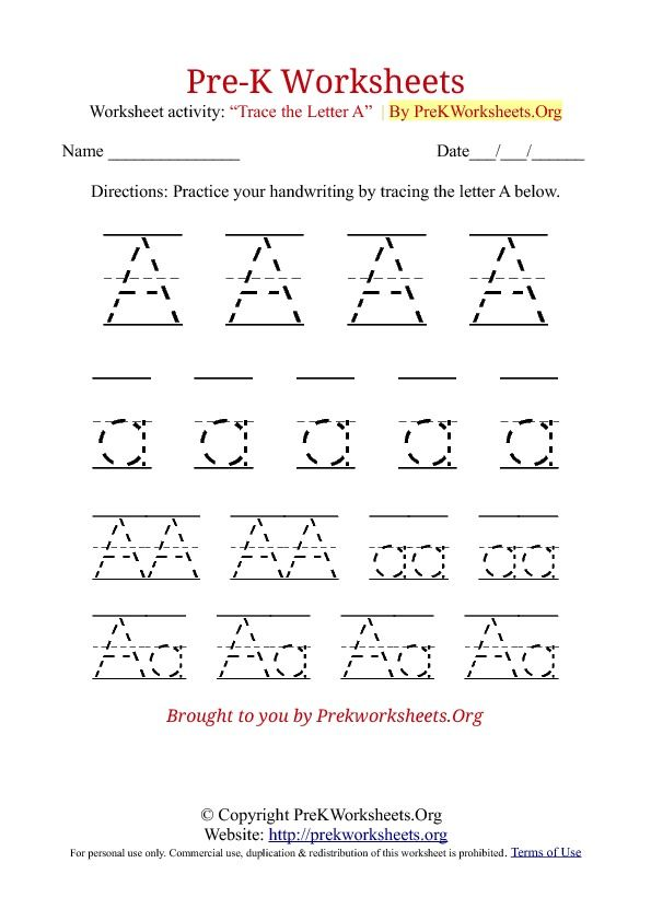 pre k tracing worksheet a download tracing a Alphabet