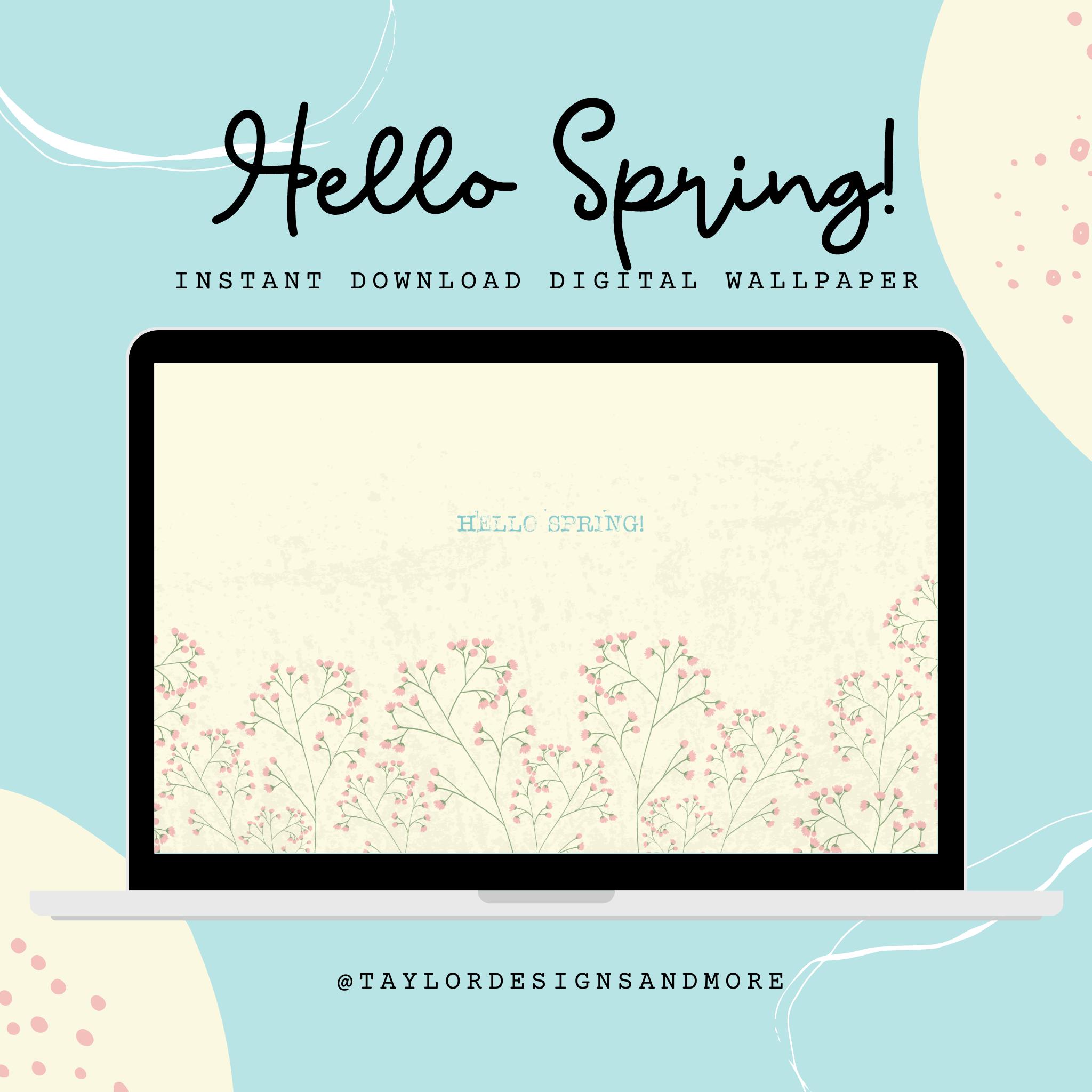 Typewriter Hello Spring Desktop Wallpaper   Instant Digital Download   Floral, Pastel Background For Tablet, Laptop, Desktop