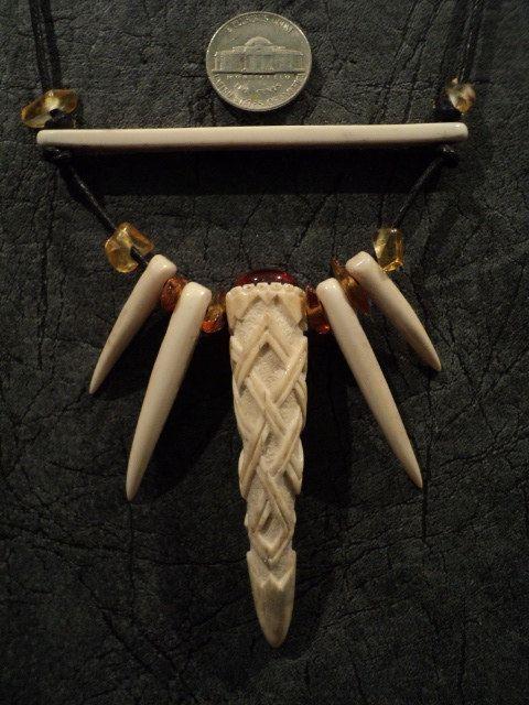 Carved deer antler Necklace amber-handiwork-viking by TheYurich