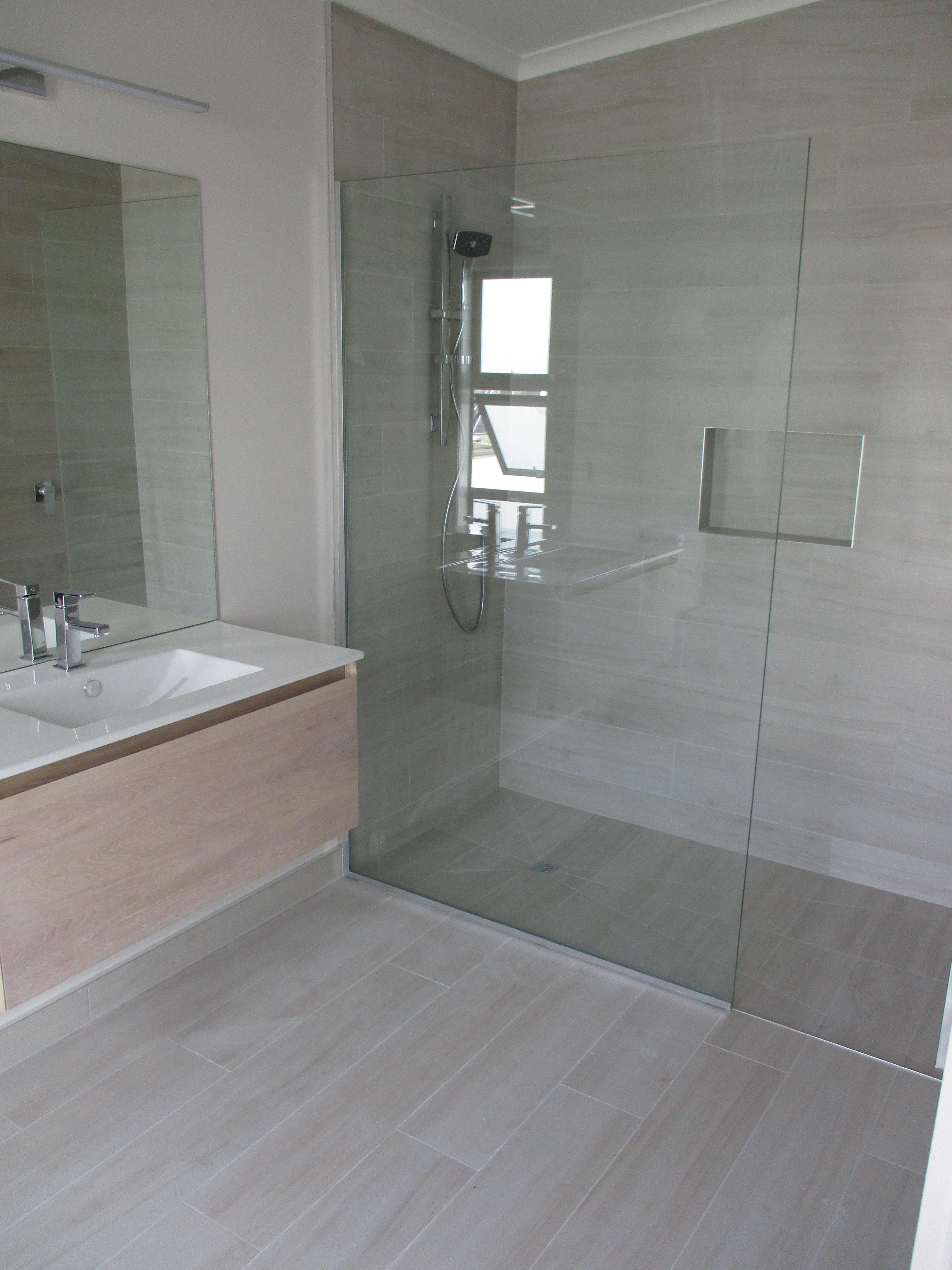Timber look floor to ceiling bathroom Tile used Drift