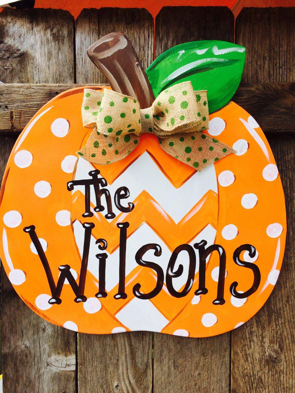 Door hanger fall front door decoration pumpkin door decoration - Chevron And Polka Dot Patch Pumpkin Wooden Hand Painted Door Hanger By Earthlizard On Etsy Https