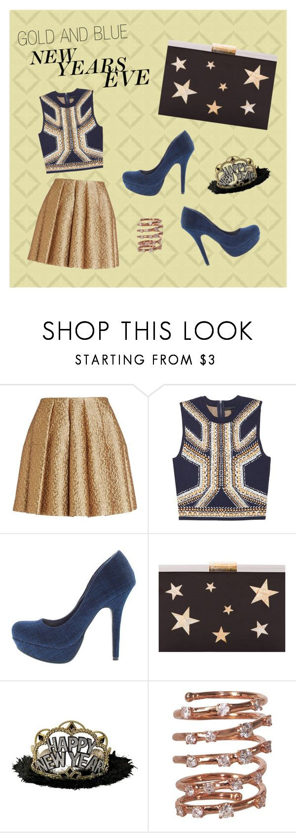 """NYE: Gold & Blue"" by wholesalefashionshoes ❤ liked on Polyvore featuring Creatures Of The Wind, Kayu and Plukka"