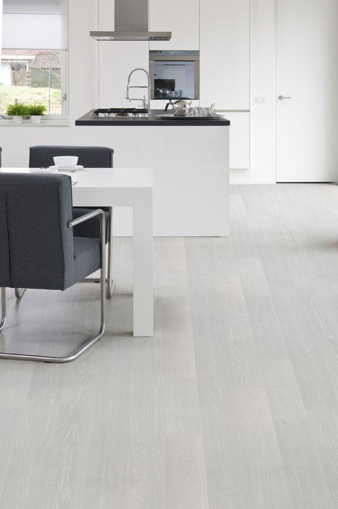 Pearl White - Pavimento flutuante de estilo minimalista, moderno e