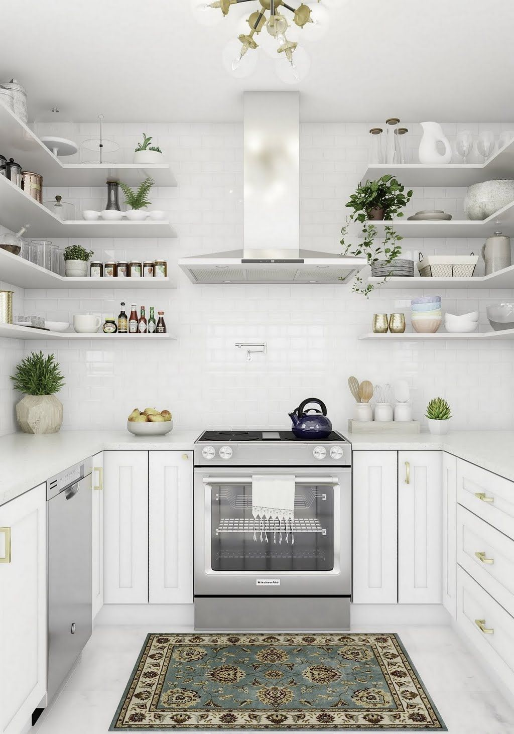 Modern White Kitchen With Open Shelving Kitchen The Home Depot