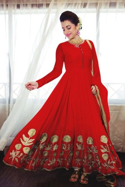 Red Embroidered Georgette Anarkali Suit For Women Clothing Online