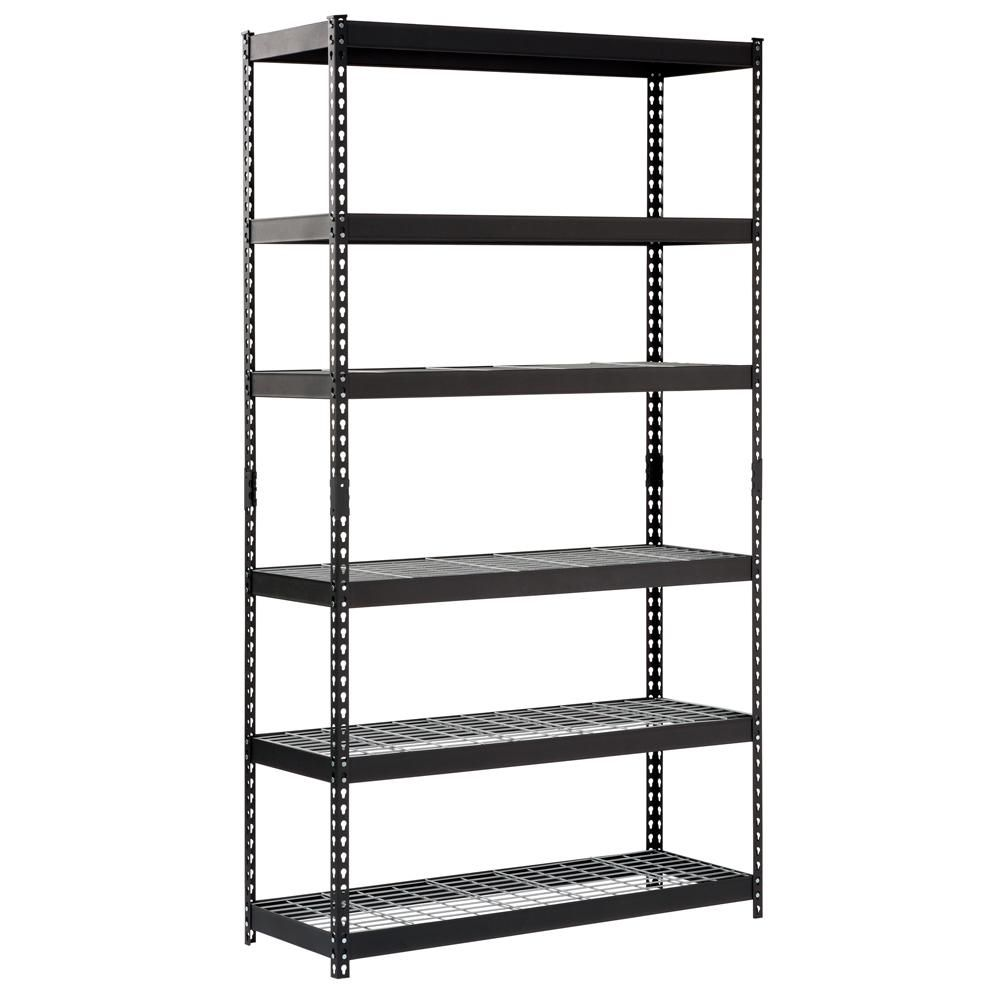Husky 86 In H X 48 In W X 18 In D Black Steel 6 Shelves Shelving Unit Mr481886w6b The Home Depot Steel Shelving Unit Shelves Shelving Unit