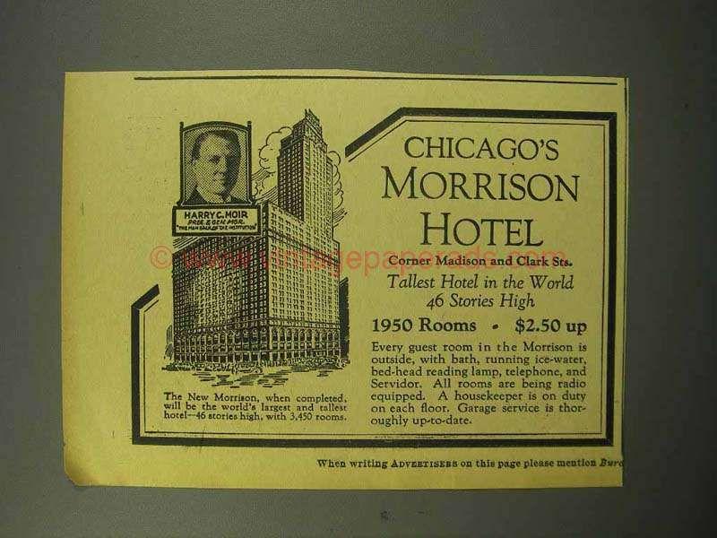 1930 Morrison Hotel Ad - Chicago