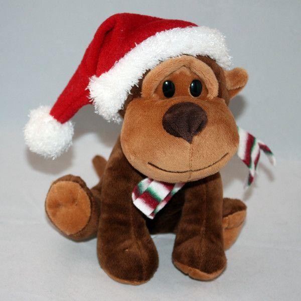 Walmart Brown Christmas Puppy Dog In Santa Hat Stuffed Plush