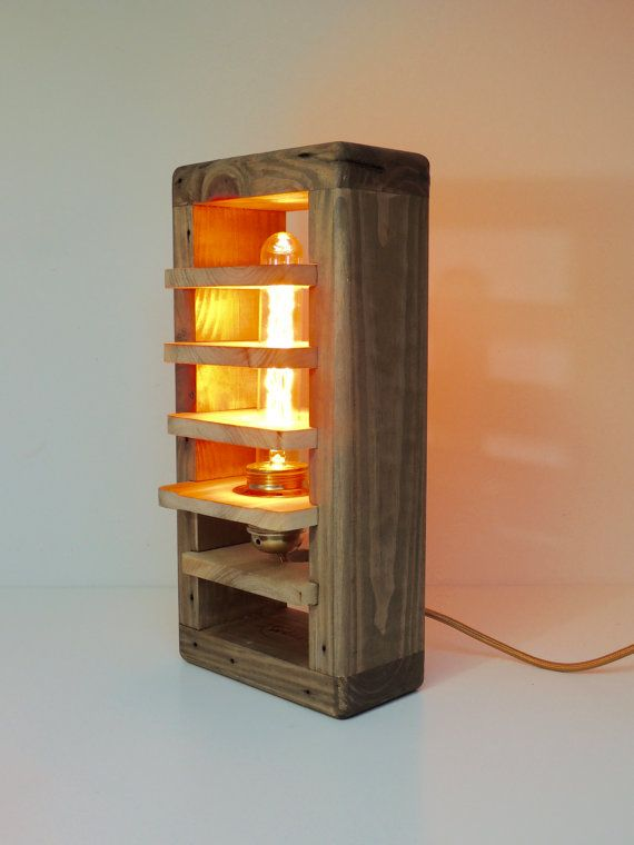 Lampe Déco Réalisée En Bois De Palette. Ampoule Filament Rétro