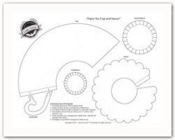 tea cup templates 3d cup (and also a flat card tea-cup