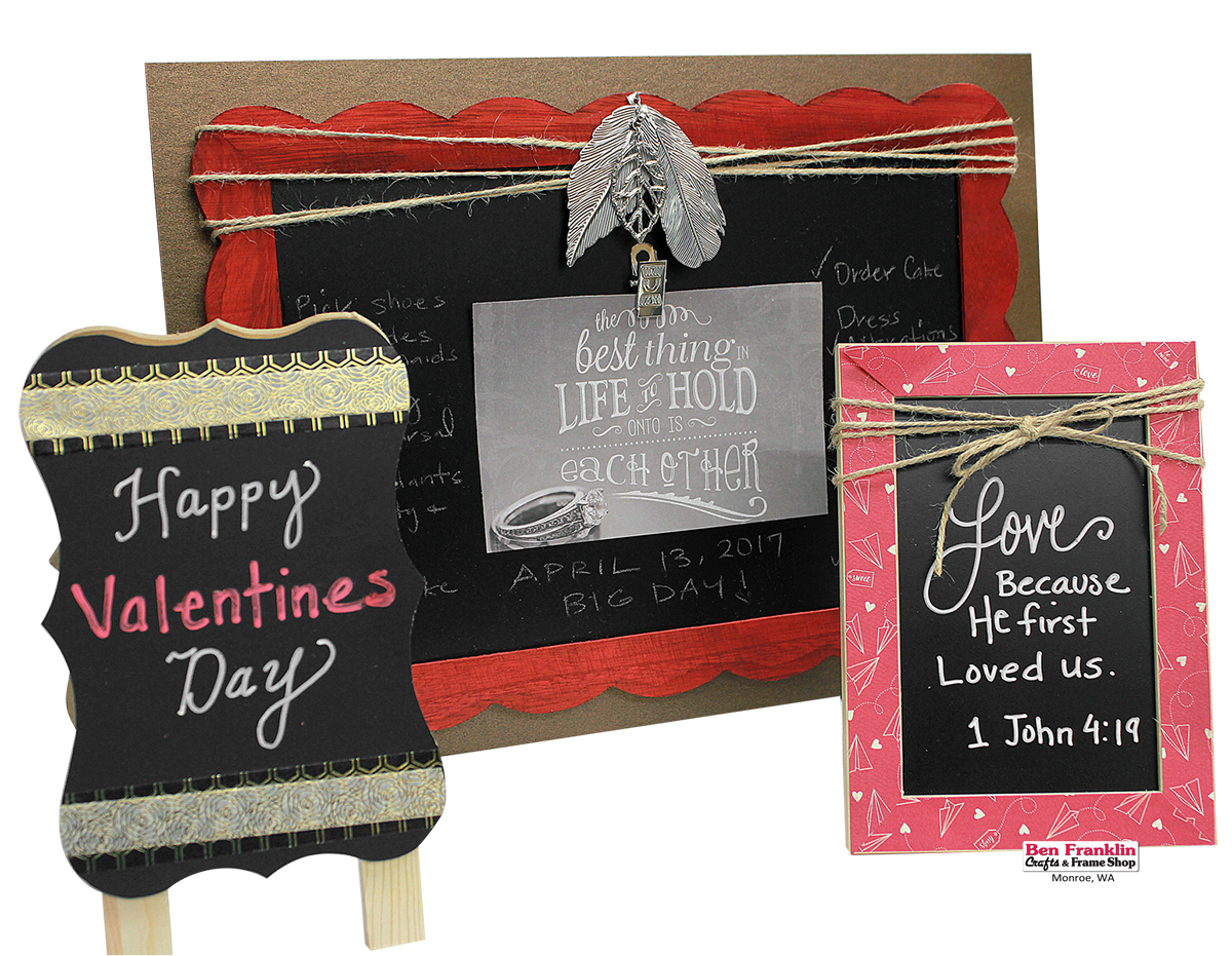 DIY Chalkboard Messages - Decorate our unfinished chalkboard surfaces with paint, ribbon, washi tape, jute, embellishments and whatever else you have available in your craft box! Use chalk or chalk markers to write your message!