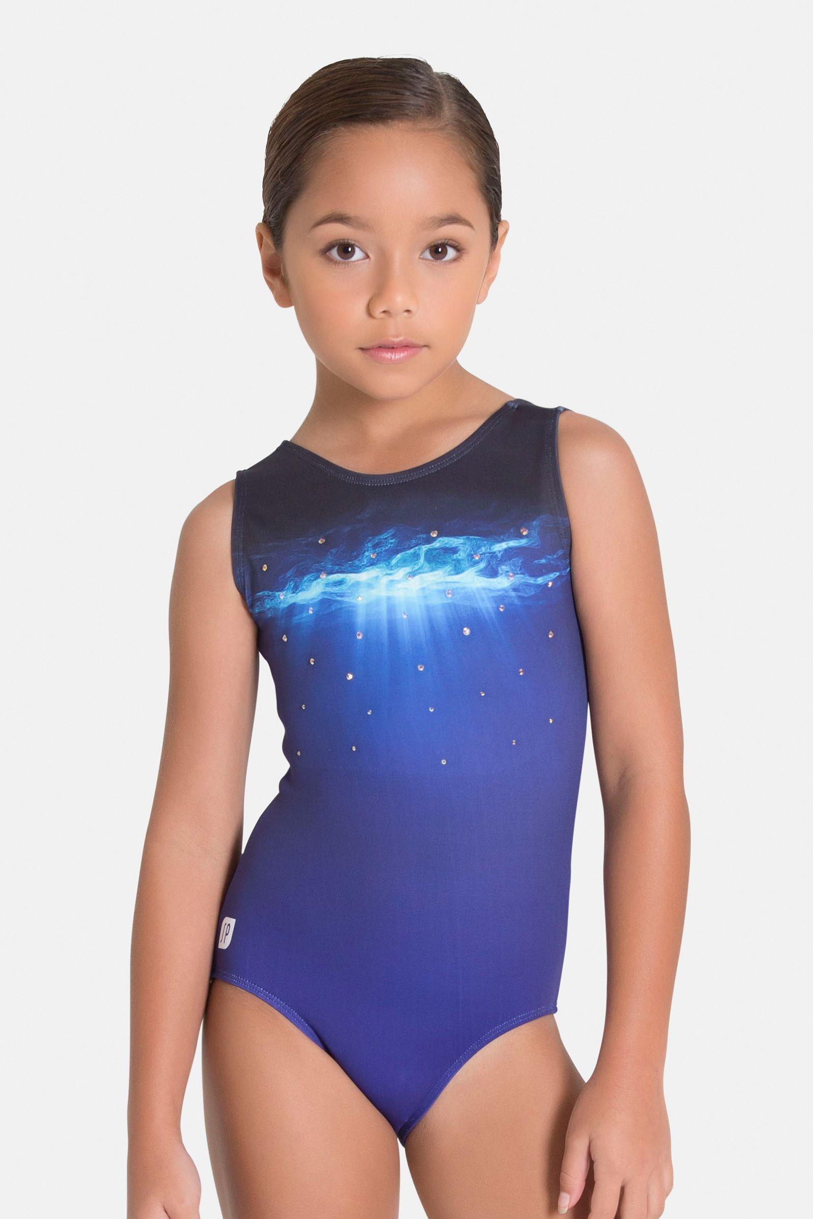 New GK Elite CHEER TOP Dance STAR Sparkling SILVER Blue CROP Gymnastics Leotard