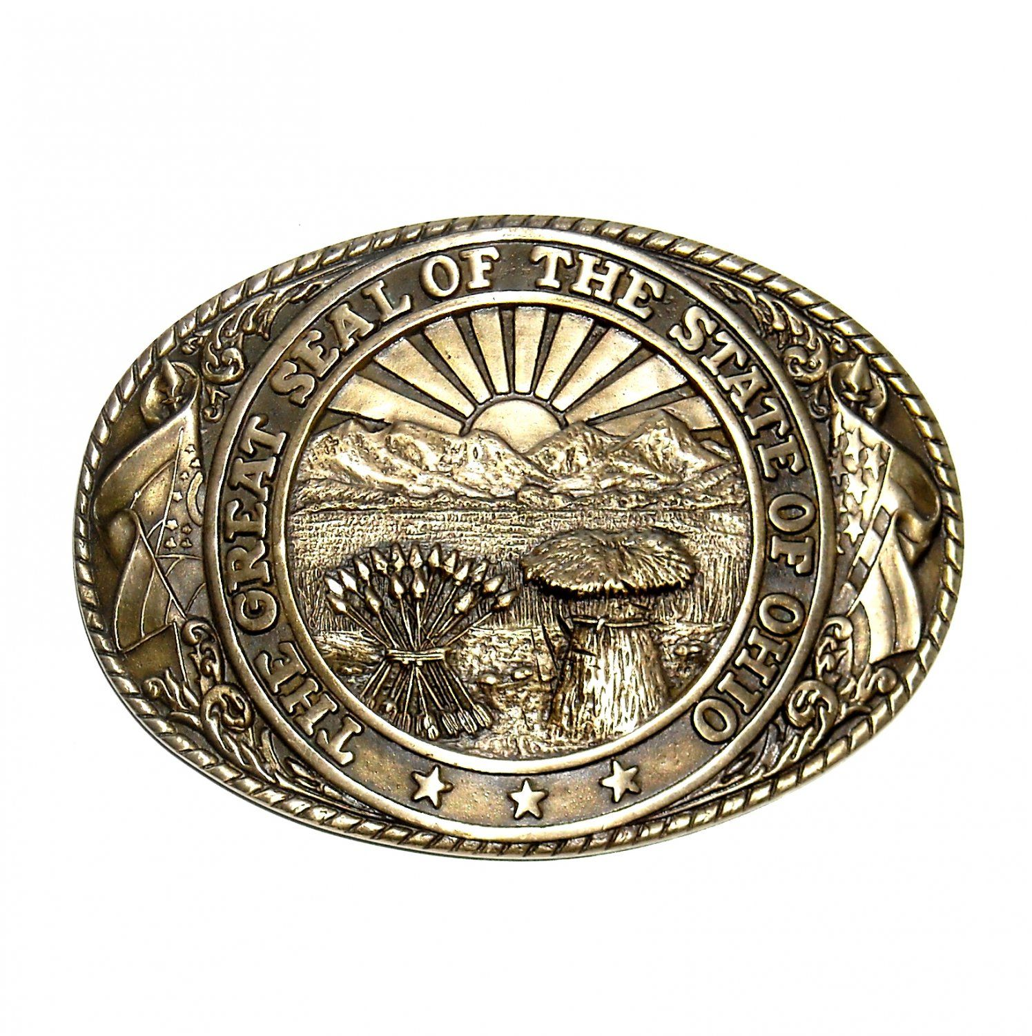 Great Seal State Of Ohio Tony Lama Solid Brass Belt Buckle Belt Buckles Brass Belt Buckles Cowboy Buckle