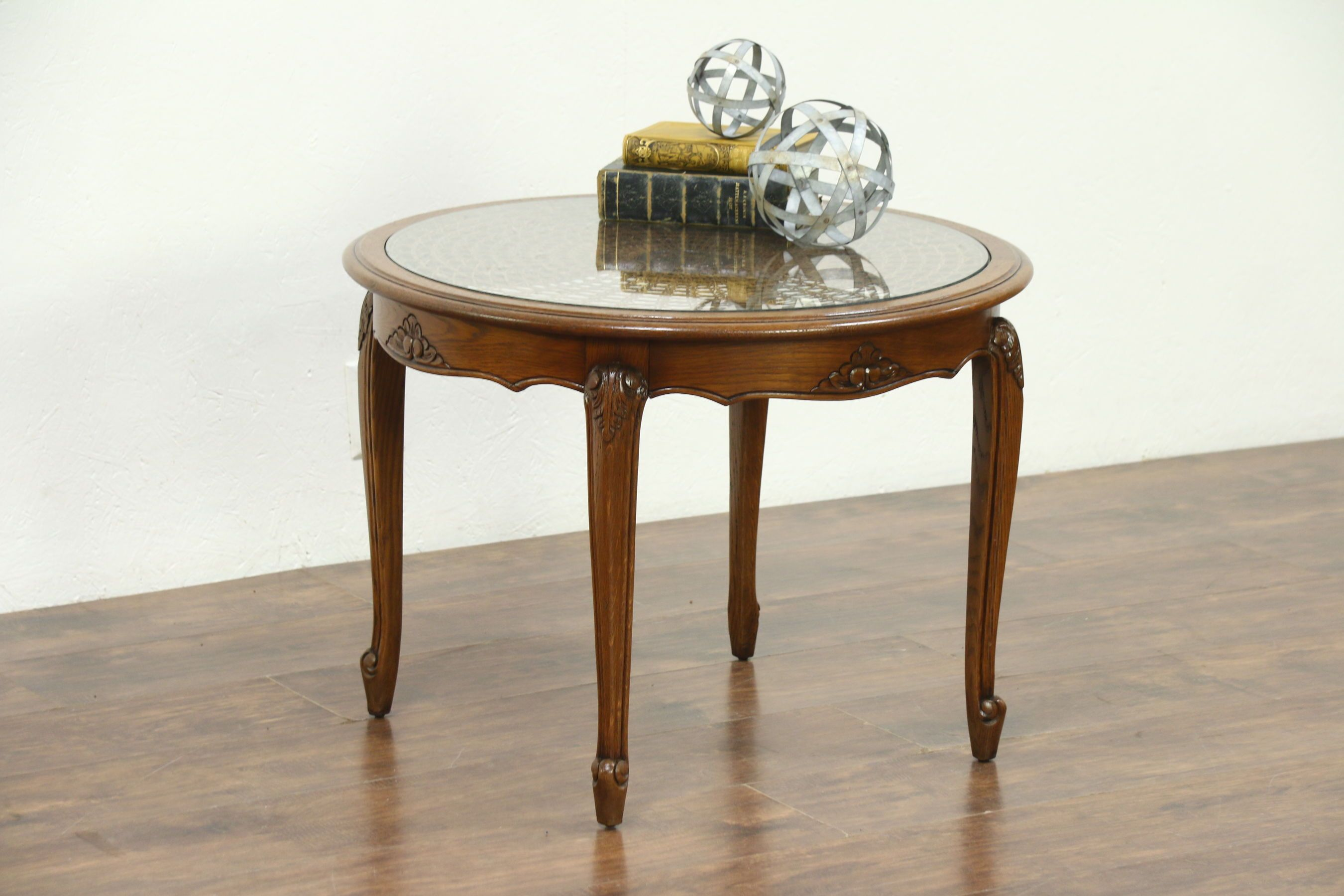 Oak Carved Round Vintage Coffee Table Cane Glass Top France Coffee Table Vintage Table Cane Glass [ 1800 x 2700 Pixel ]