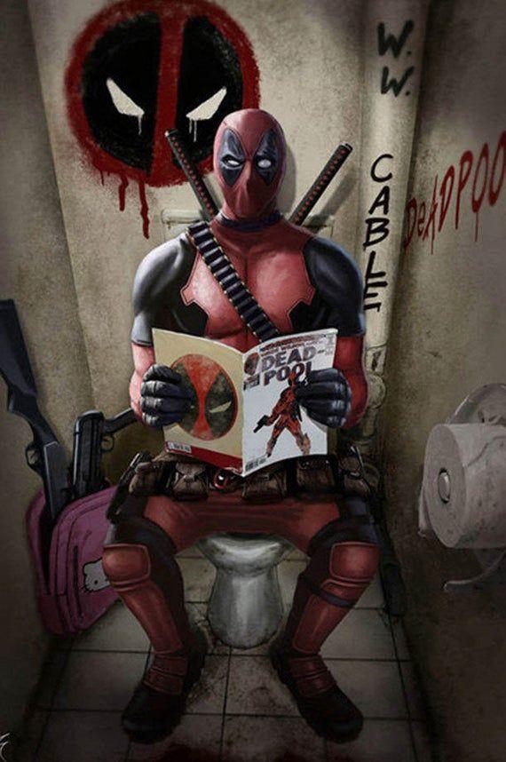 Deadpool on toilet funny bathroom art Bathroom art, Deadpool print Toilet art