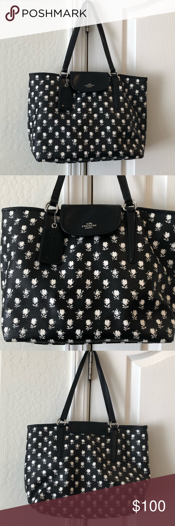 Coach Black White Flower Tote Authentic Coach Tote Black With