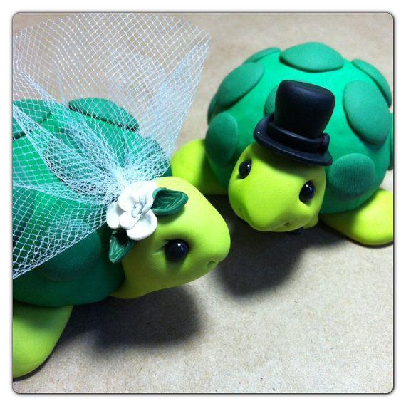 Custom Turtle Wedding Cake Topper Handmade   Wedding cake, Turtle ...