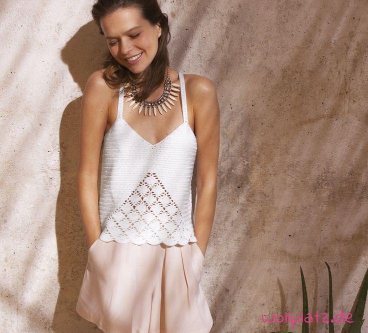 Luftiges Sommershirt häkeln - Gratis Anleitung #crochetelements