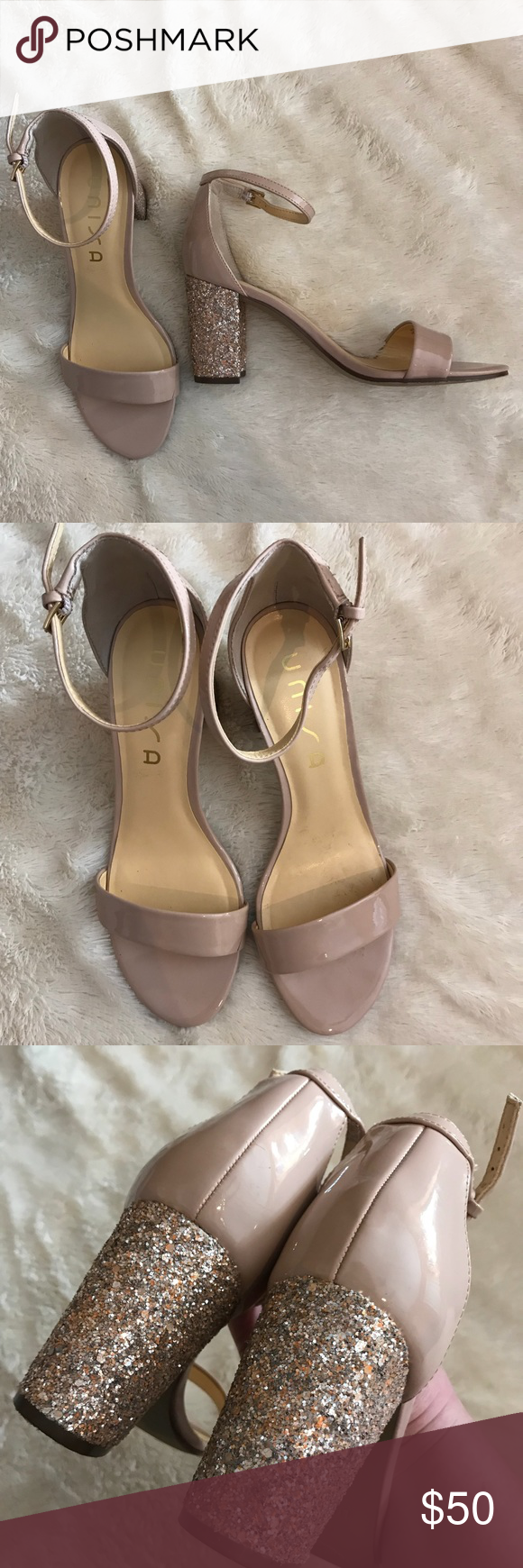3e04b7dbf6a5 Unisa Rose Gold Glitter Heels Size 8 and a half or 8.5 or 8 1/2 Worn to try  on, very minimal wear, great condition. Rose gold heel and nude faux  leather on ...