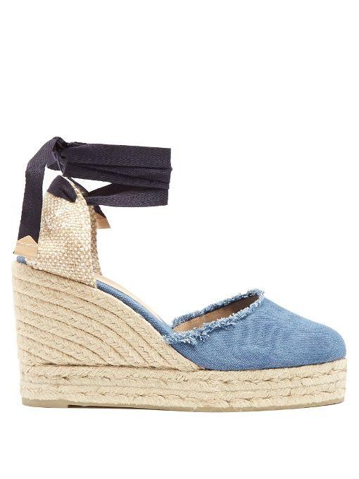 30ea87c60a CASTAÑER Canela denim wedge espadrilles. #castañer #shoes #flats ...