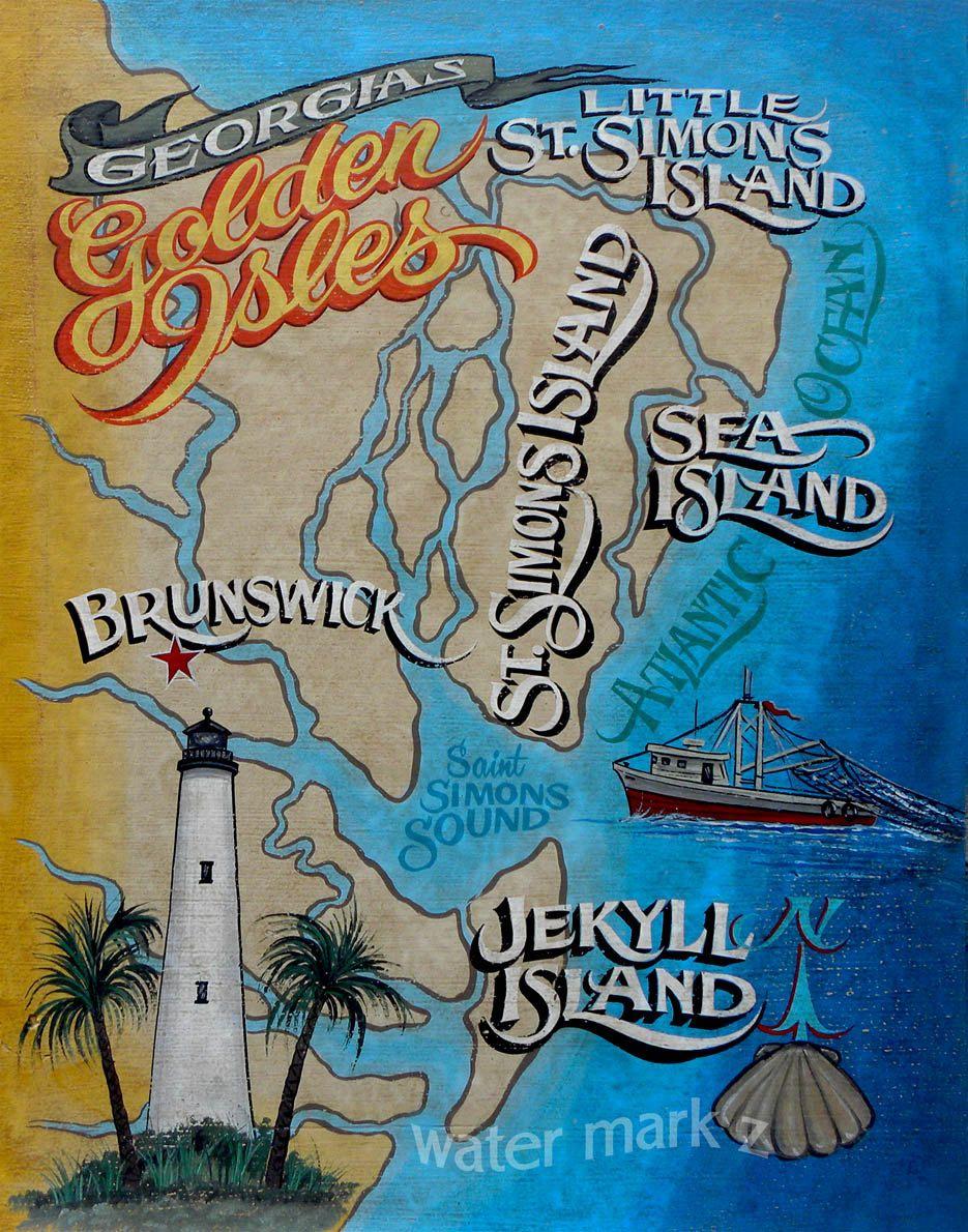 Map Of Georgia Golden Isles.Golden Isles Of Georgia Coast Map Print Art By Zekesantiquesigns