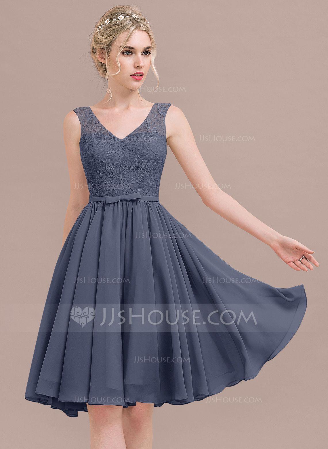 ecda295a45f55 A-Line/Princess V-neck Knee-Length Chiffon Lace Bridesmaid Dress With  Bow(s) (007116648) - Bridesmaid Dresses - JJsHouse