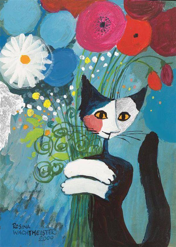 Pour Vous Par Rosina Wachtmeister Cat Artwork Naive Art Cat Art
